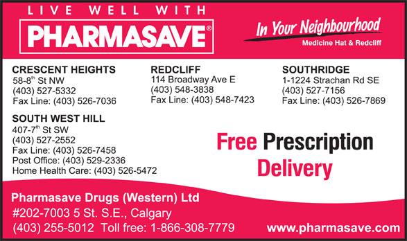 Pharmasave (403-527-2552) - Annonce illustrée======= -