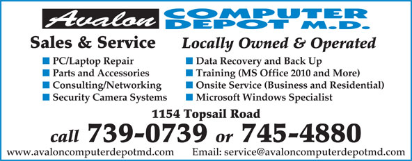 Avalon Computer Depot M.D. (709-745-4880) - Annonce illustrée======= - Sales & Service Locally Owned & Operated PC/Laptop Repair Data Recovery and Back Up Parts and Accessories Training (MS Office 2010 and More) Onsite Service (Business and Residential) Security Camera Systems Microsoft Windows Specialist 1154 Topsail Road Consulting/Networking call 739-0739 or 745-4880