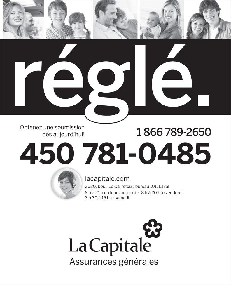 Capitale (La) Assurances Generales (450-781-0485) - Annonce illustrée======= -