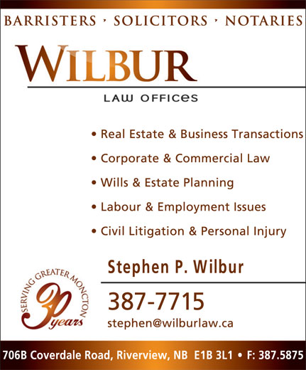 Wilbur Law Offices (506-387-7715) - Display Ad -