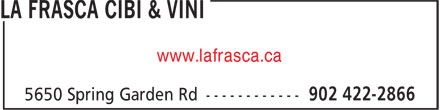 La Frasca Cibi & Vini (902-422-2866) - Annonce illustrée======= - www.lafrasca.ca