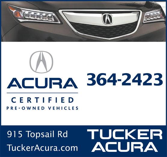 Tucker Acura Auto Sales Ltd (709-364-2423) - Annonce illustrée======= - 364-2423 915 Topsail Rd TuckerAcura.com