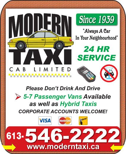 Modern Taxi Cab Limited (613-546-2222) - Annonce illustrée======= -
