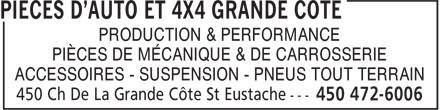 Pièces D'Auto Et 4x4 Grande Côte (450-472-6006) - Annonce illustrée======= - PIÈCES DE MÉCANIQUE & DE CARROSSERIE ACCESSOIRES - SUSPENSION - PNEUS TOUT TERRAIN PRODUCTION & PERFORMANCE