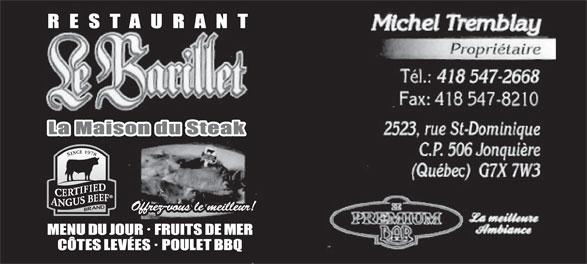 Restaurant Le Barillet (418-547-2668) - Annonce illustrée======= -
