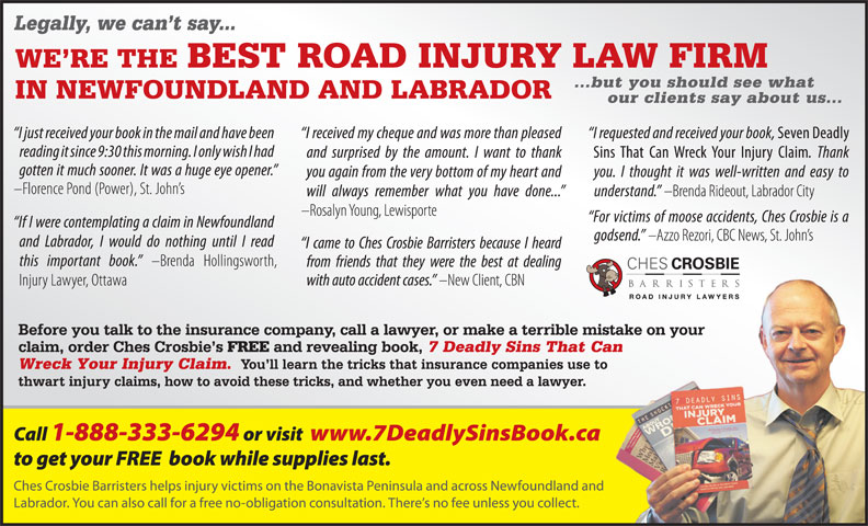 Ches Crosbie Barristers (1-888-579-3262) - Display Ad -