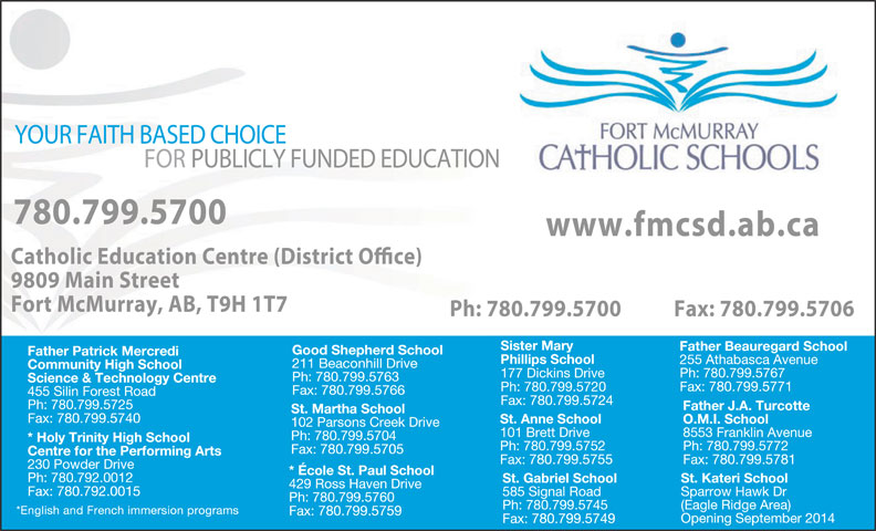 Fort McMurray Catholic Board Of Education (780-799-5700) - Display Ad -