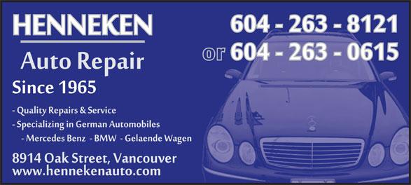 Henneken Auto Sales & Service Ltd (604-263-8121) - Display Ad -