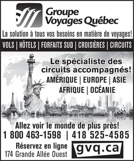 Groupe Voyages Québec Inc (418-525-4585) - Annonce illustrée======= -