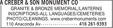 A Creber & Son Monument Co (416-261-9393) - Annonce illustrée======= - GRANITE & BRONZE MEMORIAL/LANTERNS INSCRIPTIONS-ALL LANGUAGES/CEMETERIES PHOTO/CLEANINGS. www.crebermonuments.com
