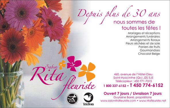 Rita Fleuriste (450-774-6152) - Annonce illustrée======= - www.salonritafleuriste.com   www.ritafleuriste.net www.salonritafleuriste.com   www.ritafleuriste.net