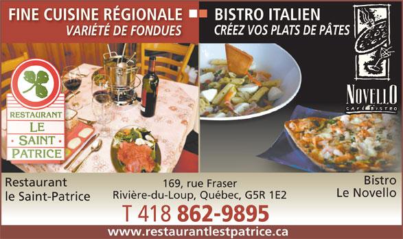 Menu Restaurant Novello Riviere Du Loup