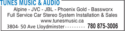 Tunes Music & Audio (780-875-3006) - Annonce illustrée======= - Alpine - JVC - JBL - Phoenix Gold - Bassworx Full Service Car Stereo System Installation & Sales www.tunesmusic.ca