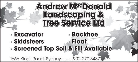 Andrew MacDonald Landscaping & Tree Service Ltd (902-537-1945) - Annonce illustrée======= -