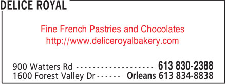 Patisserie Fine Delice Royal (613-834-8838) - Annonce illustrée======= - Fine French Pastries and Chocolates http://www.deliceroyalbakery.com