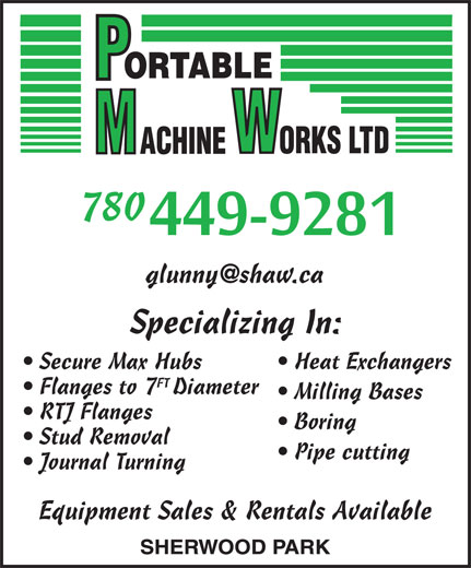 Portable Machine Works (780-464-1182) - Annonce illustrée======= - 780 Secure Max Hubs Heat Exchangers FT Flanges to 7Diameter Milling Bases RTJ Flanges Boring Stud Removal Pipe cutting Journal Turning Equipment Sales & Rentals Available 780 Secure Max Hubs Heat Exchangers FT Flanges to 7Diameter Milling Bases RTJ Flanges Boring Stud Removal Pipe cutting Journal Turning Equipment Sales & Rentals Available