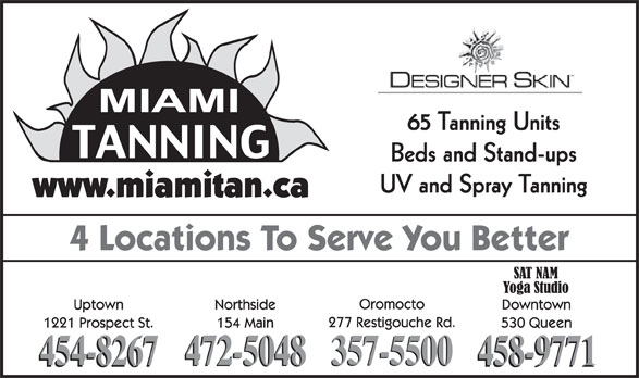 Miami Tanning Salon Inc (506-454-8267) - Annonce illustrée======= - 65 Tanning Units Beds and Stand-ups UV and Spray Tanning