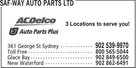 Saf-Way Auto Parts Limited/Auto Parts Plus (902-539-9970) - Annonce illustrée======= - 3 Locations to serve you!