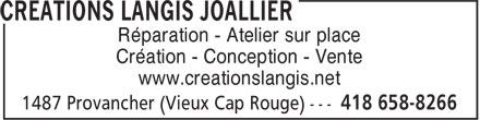 Créations Langis Joallier (418-658-8266) - Annonce illustrée======= - Réparation - Atelier sur place Création - Conception - Vente www.creationslangis.net