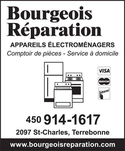 Bourgeois Réparation Enr (450-471-1219) - Annonce illustrée======= - Bourgeois Réparation