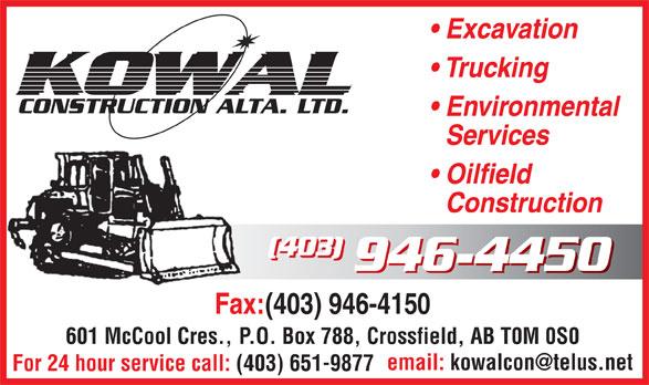 Kowal Construction Alta Ltd (403-946-4450) - Annonce illustrée======= -