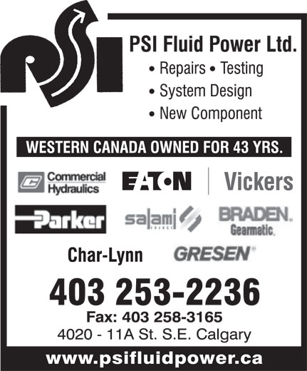 P.S.I. Fluid Power Ltd (403-253-2236) - Display Ad -