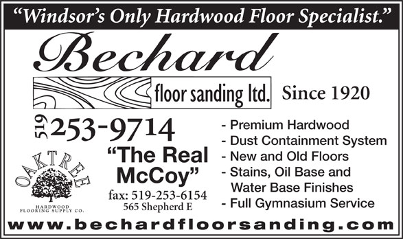 Bechard Floor Sanding Ltd 519 253 9714 Display Ad