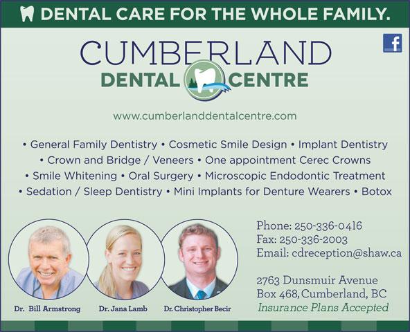 Cumberland Dental Centre (250-336-2006) - Annonce illustrée======= - Dr. Christopher Becir