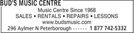 Long Mcquade (705-742-5332) - Display Ad - Music Centre Since 1968 SALES • RENTALS • REPAIRS • LESSONS www.budsmusic.com