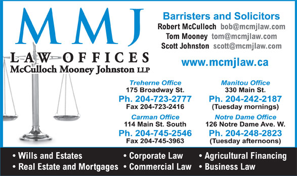 McCulloch Mooney Johnston LLP (204-723-2777) - Display Ad -