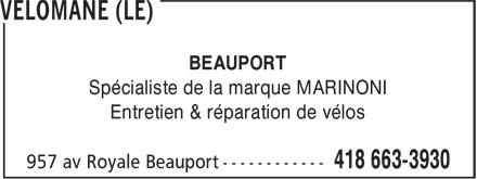 Le Vélomane (418-663-3930) - Annonce illustrée======= - BEAUPORT Spécialiste de la marque MARINONI Entretien & réparation de vélos