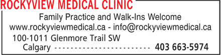 Rockyview Medical Clinic (403-252-9610) - Display Ad - Family Practice and Walk-Ins Welcome
