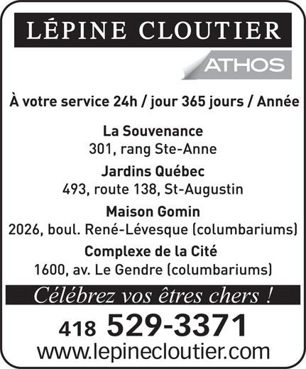 Lépine Cloutier/ATHOS (418-529-3371) - Annonce illustrée======= - Célébrez vos êtres chers !