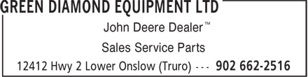 Green Diamond Equipment Ltd (902-662-2516) - Annonce illustrée======= - ™ John Deere Dealer Sales Service Parts ™ John Deere Dealer Sales Service Parts