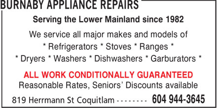 Ads Burnaby Appliance Repairs