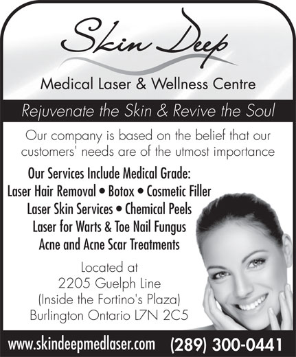 Skin Deep Medical Laser and Wellness Centre (289-300-0441) - Display Ad -