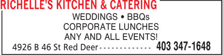 Richelle's Kitchen & Catering (403-347-1648) - Annonce illustrée======= - WEDDINGS • BBQs CORPORATE LUNCHES ANY AND ALL EVENTS!