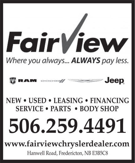 Fairview Dodge Jeep Chrysler (506-458-8955) - Annonce illustrée======= - NEW   USED   LEASING   FINANCING SERVICE   PARTS    BODY SHOP 506.259.4491 www.fairviewchryslerdealer.com Hanwell Road, Fredericton, NB E3B5C8