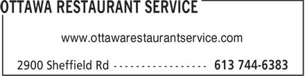 Ottawa Restaurant Service (613-744-6383) - Annonce illustrée======= - www.ottawarestaurantservice.com