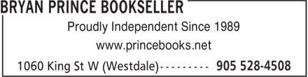 Bryan Prince Bookseller (905-528-4508) - Annonce illustrée======= - Proudly Independent Since 1989 www.princebooks.net Proudly Independent Since 1989 www.princebooks.net Proudly Independent Since 1989 www.princebooks.net