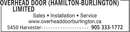 Overhead Door (Hamilton-Burlington) Ltd (905-333-1772) - Annonce illustrée======= - Sales • Installation • Service www.overheaddoorburlington.ca