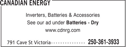 Canadian Energy (250-361-3933) - Annonce illustrée======= - Inverters, Batteries & Accessories See our ad under Batteries - Dry www.cdnrg.com