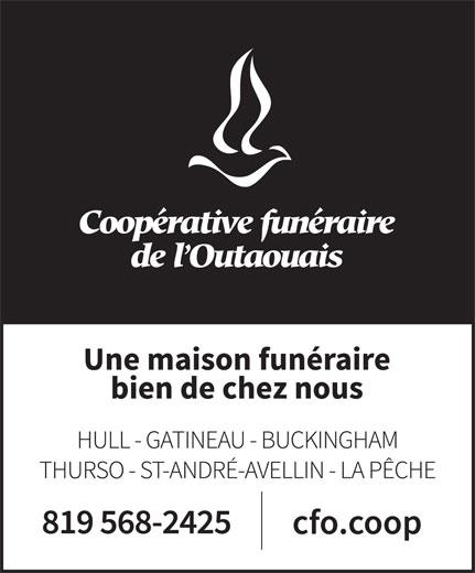 Coopérative Funéraire De L'Outaouais (la) (819-568-2425) - Annonce illustrée======= -