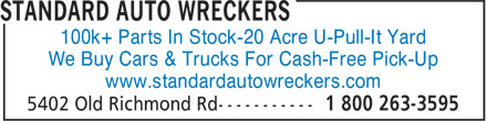 Standard Auto Wreckers (613-591-5600) - Annonce illustrée======= - 100k+ Parts In Stock-20 Acre U-Pull-It Yard We Buy Cars & Trucks For Cash-Free Pick-Up www.standardautowreckers.com