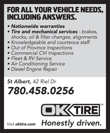 OK Tire (780-458-0256) - Annonce illustrée======= -