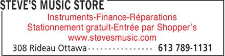 Steve's Music Store (613-789-1131) - Annonce illustrée======= - Instruments-Finance-Réparations Stationnement gratuit-Entrée par Shopper's www.stevesmusic.com