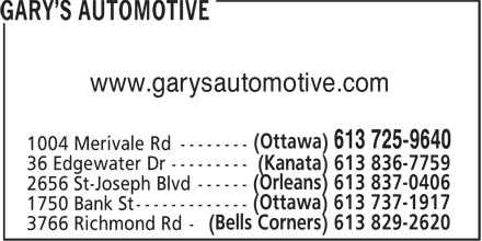 Gary's Automotive (613-725-9640) - Annonce illustrée======= - www.garysautomotive.com www.garysautomotive.com