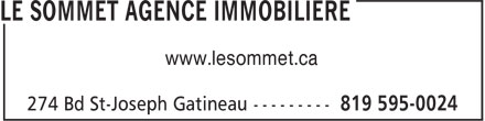 Le Sommet Agence Immobiliere (819-595-0024) - Annonce illustrée======= -