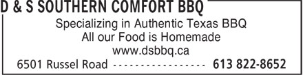 D & S Southern Comfort Bbq (613-822-8652) - Annonce illustrée======= - Specializing in Authentic Texas BBQ All our Food is Homemade www.dsbbq.ca