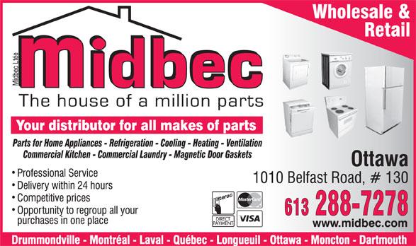 Midbec Ltée (613-288-7278) - Annonce illustrée======= -